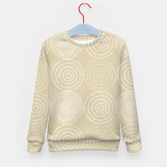 Miniatur White Circles Dots Line Art Spirals Artistic Tribal Kid's sweater, Live Heroes