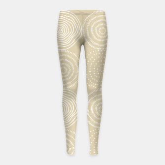 Miniatur White Circles Dots Line Art Spirals Artistic Tribal Girl's leggings, Live Heroes