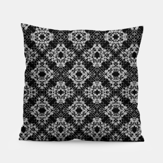 Thumbnail image of Black and White Checked Ornate Pattern Pillow, Live Heroes