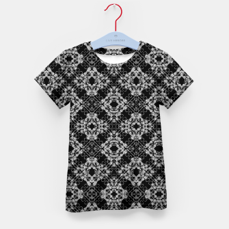 Thumbnail image of Black and White Checked Ornate Pattern Kid's t-shirt, Live Heroes