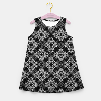 Thumbnail image of Black and White Checked Ornate Pattern Girl's summer dress, Live Heroes