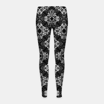 Thumbnail image of Black and White Checked Ornate Pattern Girl's leggings, Live Heroes