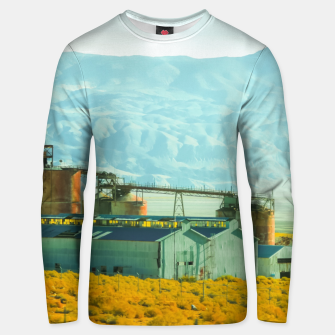 Miniatur road trip with countryside view and mountains background in California Unisex sweater, Live Heroes