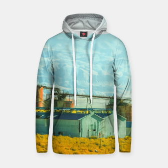 Miniatur road trip with countryside view and mountains background in California Hoodie, Live Heroes