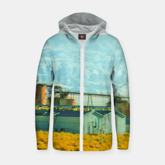 Miniatur road trip with countryside view and mountains background in California Zip up hoodie, Live Heroes
