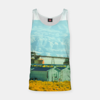 Miniatur road trip with countryside view and mountains background in California Tank Top, Live Heroes