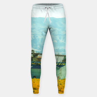 Miniatur road trip with countryside view and mountains background in California Sweatpants, Live Heroes