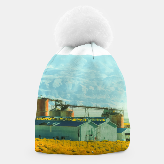 Miniatur road trip with countryside view and mountains background in California Beanie, Live Heroes