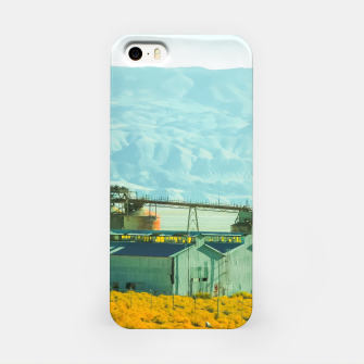 Miniatur road trip with countryside view and mountains background in California iPhone Case, Live Heroes