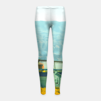 Miniatur road trip with countryside view and mountains background in California Girl's leggings, Live Heroes