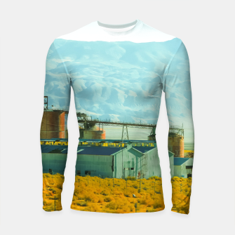 Miniatur road trip with countryside view and mountains background in California Longsleeve rashguard , Live Heroes