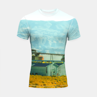 Miniatur road trip with countryside view and mountains background in California Shortsleeve rashguard, Live Heroes