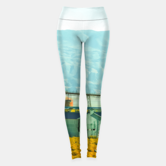 Miniatur road trip with countryside view and mountains background in California Leggings, Live Heroes