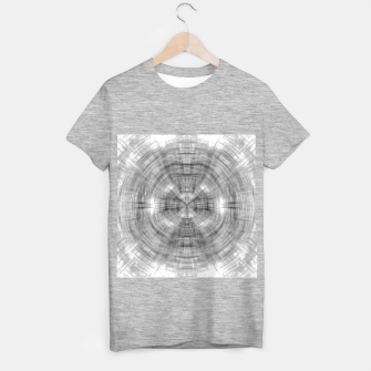 Thumbnail image of psychedelic drawing symmetry graffiti abstract pattern in black and white T-shirt regular, Live Heroes