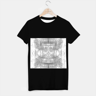 Miniatur psychedelic graffiti skull art abstract in black and white T-shirt regular, Live Heroes
