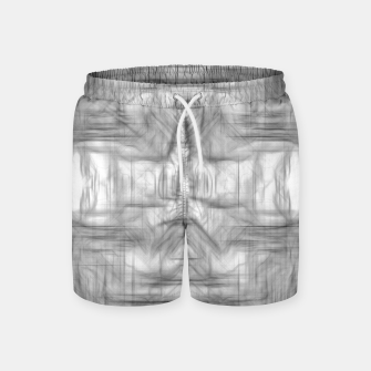Miniatur psychedelic graffiti skull art abstract in black and white Swim Shorts, Live Heroes