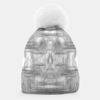 Miniatur psychedelic graffiti skull art abstract in black and white Beanie, Live Heroes