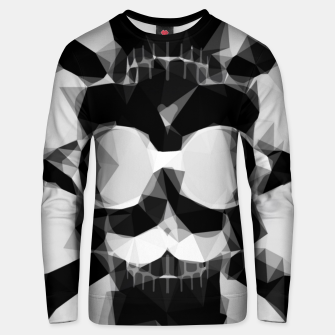 Thumbnail image of psychedelic skull art geometric triangle pattern abstract in black and white Unisex sweater, Live Heroes