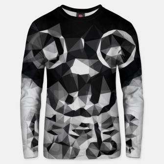 Thumbnail image of psychedelic skull and bone art geometric triangle abstract pattern in black and white Unisex sweater, Live Heroes