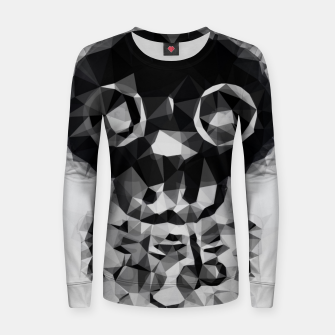 Miniatur psychedelic skull and bone art geometric triangle abstract pattern in black and white Women sweater, Live Heroes