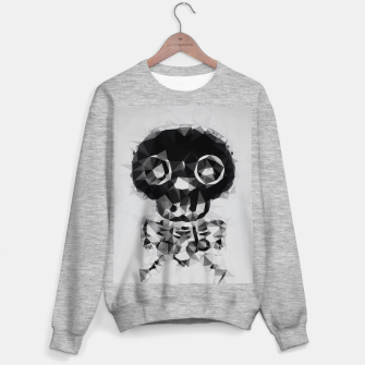 Miniatur psychedelic skull and bone art geometric triangle abstract pattern in black and white Sweater regular, Live Heroes
