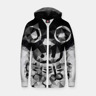 Miniatur psychedelic skull and bone art geometric triangle abstract pattern in black and white Zip up hoodie, Live Heroes