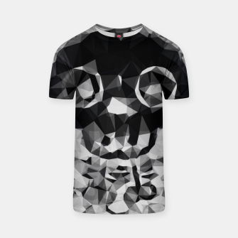 Miniatur psychedelic skull and bone art geometric triangle abstract pattern in black and white T-shirt, Live Heroes