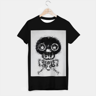 Miniatur psychedelic skull and bone art geometric triangle abstract pattern in black and white T-shirt regular, Live Heroes