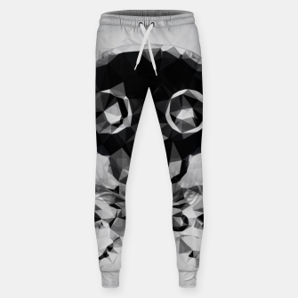 Miniatur psychedelic skull and bone art geometric triangle abstract pattern in black and white Sweatpants, Live Heroes
