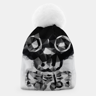 Miniatur psychedelic skull and bone art geometric triangle abstract pattern in black and white Beanie, Live Heroes