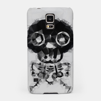 Miniatur psychedelic skull and bone art geometric triangle abstract pattern in black and white Samsung Case, Live Heroes