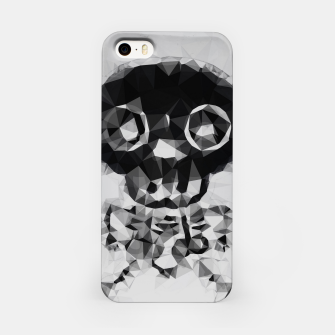 Miniatur psychedelic skull and bone art geometric triangle abstract pattern in black and white iPhone Case, Live Heroes