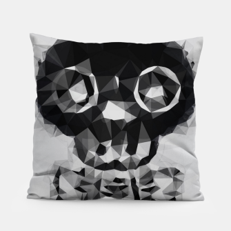 Miniatur psychedelic skull and bone art geometric triangle abstract pattern in black and white Pillow, Live Heroes