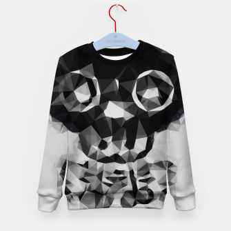 Miniatur psychedelic skull and bone art geometric triangle abstract pattern in black and white Kid's sweater, Live Heroes