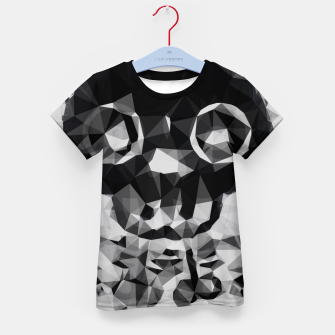 Miniatur psychedelic skull and bone art geometric triangle abstract pattern in black and white Kid's t-shirt, Live Heroes
