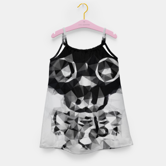 Miniatur psychedelic skull and bone art geometric triangle abstract pattern in black and white Girl's dress, Live Heroes