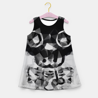 Miniatur psychedelic skull and bone art geometric triangle abstract pattern in black and white Girl's summer dress, Live Heroes