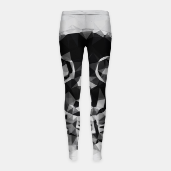 Thumbnail image of psychedelic skull and bone art geometric triangle abstract pattern in black and white Girl's leggings, Live Heroes