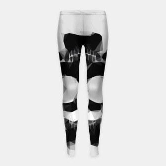 Thumbnail image of psychedelic skull art geometric triangle pattern abstract in black and white Girl's leggings, Live Heroes