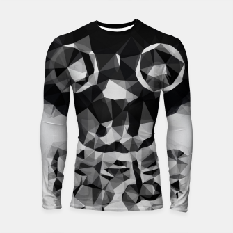 Thumbnail image of psychedelic skull and bone art geometric triangle abstract pattern in black and white Longsleeve rashguard , Live Heroes