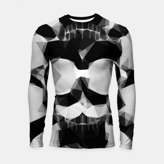 Thumbnail image of psychedelic skull art geometric triangle pattern abstract in black and white Longsleeve rashguard , Live Heroes