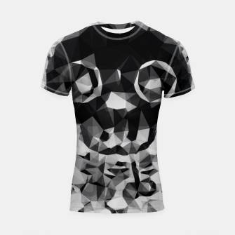 Thumbnail image of psychedelic skull and bone art geometric triangle abstract pattern in black and white Shortsleeve rashguard, Live Heroes
