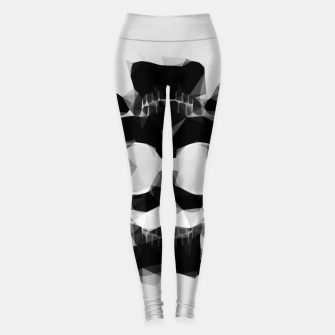 Miniatur psychedelic skull art geometric triangle pattern abstract in black and white Leggings, Live Heroes