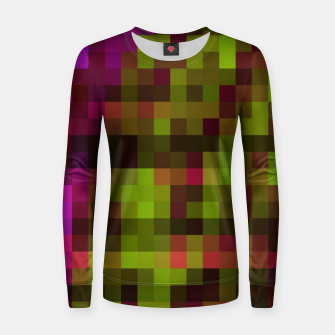 Thumbnail image of pixel geometric square pattern abstract in red green purple and black Women sweater, Live Heroes
