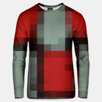 Thumbnail image of pixel geometric square pattern abstract in red and black Unisex sweater, Live Heroes