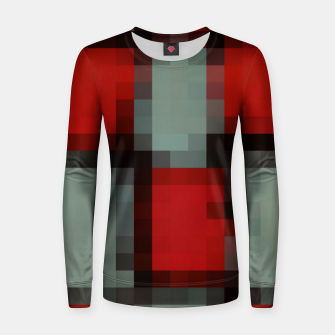 Thumbnail image of pixel geometric square pattern abstract in red and black Women sweater, Live Heroes
