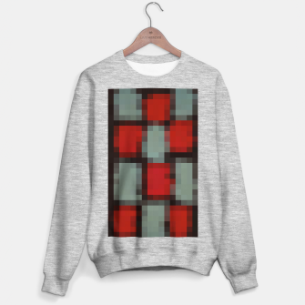 Thumbnail image of pixel geometric square pattern abstract in red and black Sweater regular, Live Heroes