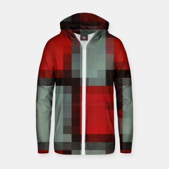 Thumbnail image of pixel geometric square pattern abstract in red and black Zip up hoodie, Live Heroes