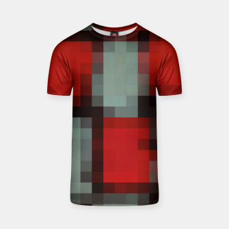 Thumbnail image of pixel geometric square pattern abstract in red and black T-shirt, Live Heroes