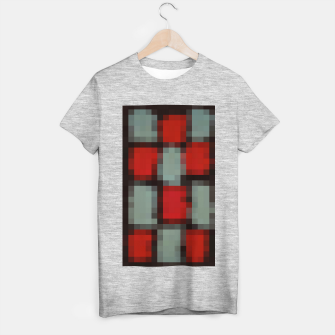 Thumbnail image of pixel geometric square pattern abstract in red and black T-shirt regular, Live Heroes